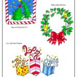 whimsical Christmas trees, wreath with bow, Christmas presents