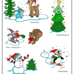 Whimsical forest creatures, penguin skating, snowman with birds
