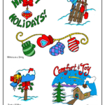 Happy Holidays, old-fashioned toboggan, mittens, Christmas mailbox, cozy country house