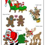 Santa resting, Gingerbread couple, reindeer with holiday lights, Santa and reindeer eating cookies