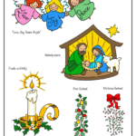 Christmas angels, Jesus in manger, candle with holly, Christmas garland