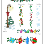 Christmas garland, ornaments, lamppost with bow