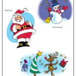 Whimsical snowman, jolly Santa Claus, whimsical reindeer
