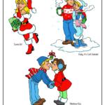 Female Santa, cozy couple, mistletoe kiss