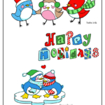Christmas birds, Happy Holidays letters, penguin couple