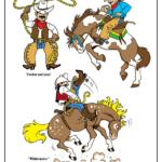 Cowboy with lasso, cowboy on bucking bronco