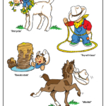 Prize-winning lamb, little cowboy, stack of pancakes, colt stealing cowboy hat