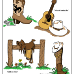 Cowboy boot, guitar and cowboy hat, cowboy hat on fence post, saddle on fence post