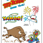 Stampede lettering, Yahoo, bull and rodeo clown