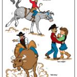 Bronco and cowboy, Stampede bull rider, dancing