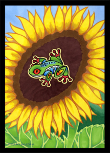 Tree Frog and Sunflower